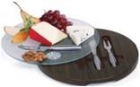 Cheese Board Wood Tone and Revolving Glass